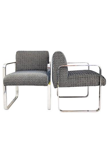 Milo Baughman Flat Bar Chrome Lounge Chairs - A Pair