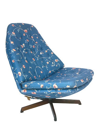 Madsen and Schübel Floral Print Swivel Lounge Chair MS68