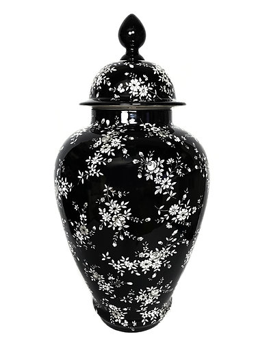 Chelsea House Black and White Flower Ginger Jar