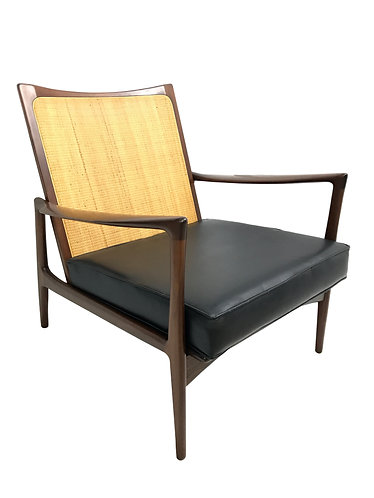 Ib Kofod Larsen Mid Century Danish Cane Back Lounge Chair for Selig