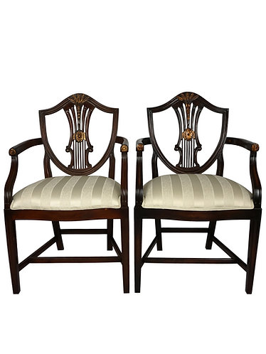 Alden Parkes Classic Shield Back Arm Chairs- A Pair