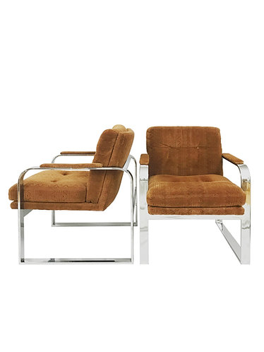 Milo Baughman Mid Century Flat Bar Chrome Lounge Chair for Directional