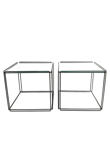 Mid Century Max Sauze Isocele Wire and Glass Cube Side Tables -A Pair