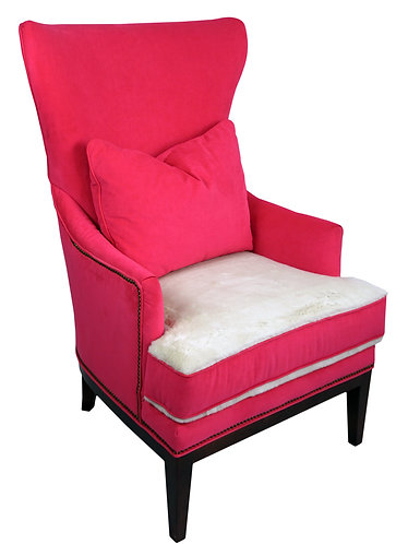 BiltWell Showroom Hot Pink Faux Fur Wing Chair