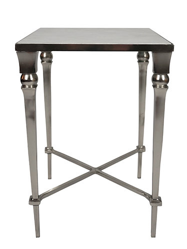 Modern 1950s Style Nickel & Marble End Table