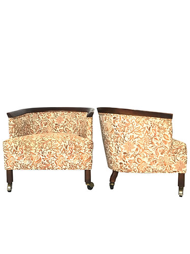 Mid Century Tomlinson Style Barrel Back Club Chairs