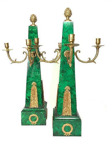 Pair of Maitland Smith Obelisk Candelabra with Faux Malachite and Brass