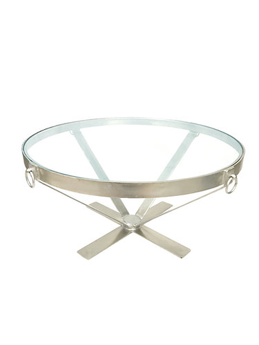 Classic Iron Metal & Glass Coffee Table by Woodland Imports