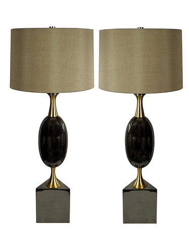 Pair of Art Deco Modern History Calder Buffet Table Lamp with Silk Shade