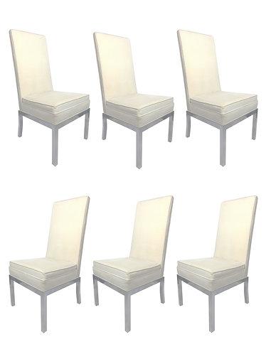 Design Institute of America High Back Chrome & Velvet Pinstripe Dining Chairs