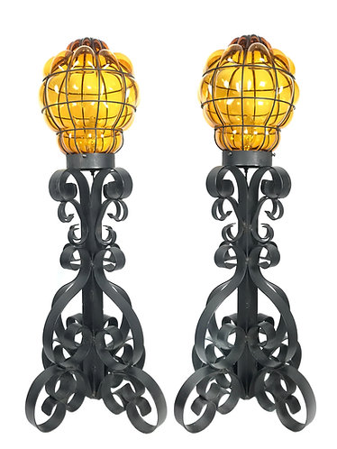 Mid Century Wrought Iron Lamps with Caged Amber Glass- A Pair
