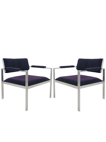 Pair of Mid Century Harvey Probber Aluminum Frame Mohair Lounge Chairs