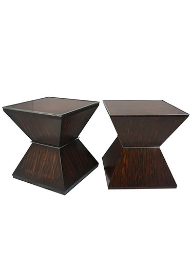 Pair of Alden Parkes Ebony Pyramid End Tables