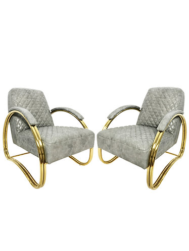 Sarried Ltd. Leather & Brass Beatty Armchair