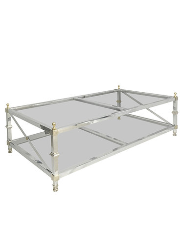 Maison Jansen Hollywood Regency Style Chrome and Brass Coffee Table