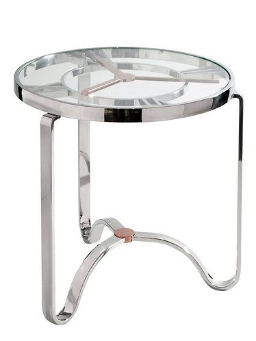 Modern Rose Gold and Chrome Clock Top Side Table