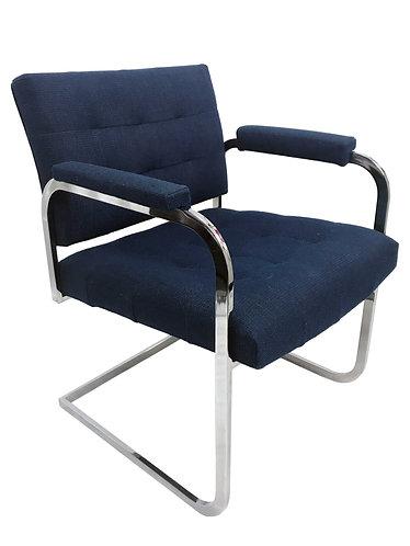 Milo Baughman Style Chrome Cantilever Armchair by Patrician