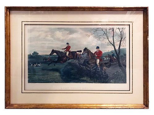"""A Fast Twenty Minutes"" Hand Colored Hunting Scene Engraving by Sheldon Williams"