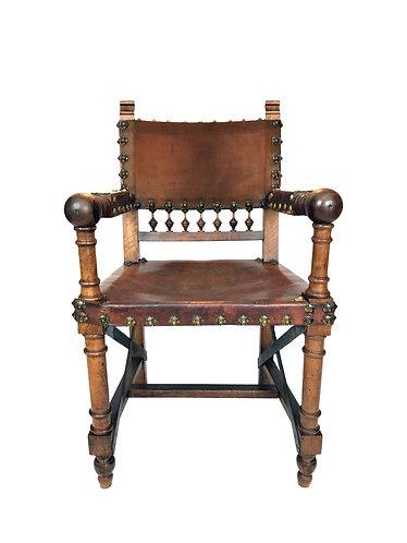 19th Century Renaissance Revival Leather Armchair