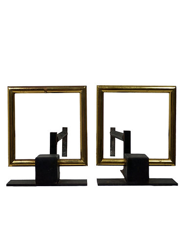 Pair of Donald Deskey Style Brass Buckle Andirons