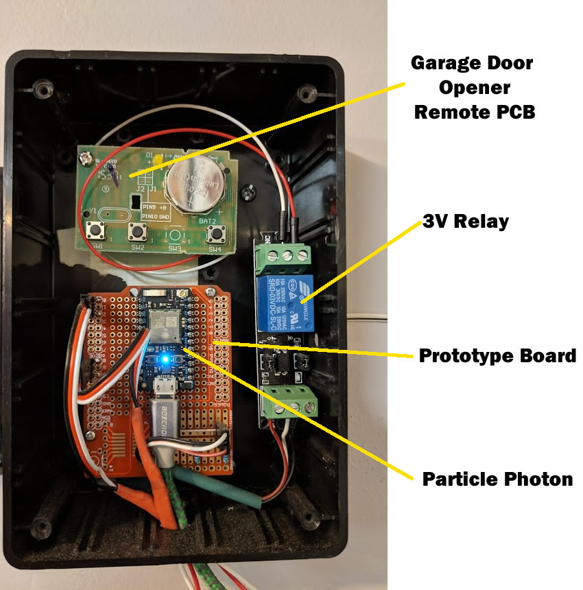 Component layout and location of the Photon, Relay, and Door Opener