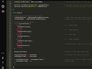 Particle Build UI showing portions of the code and State Machine for the automated garage door opener.