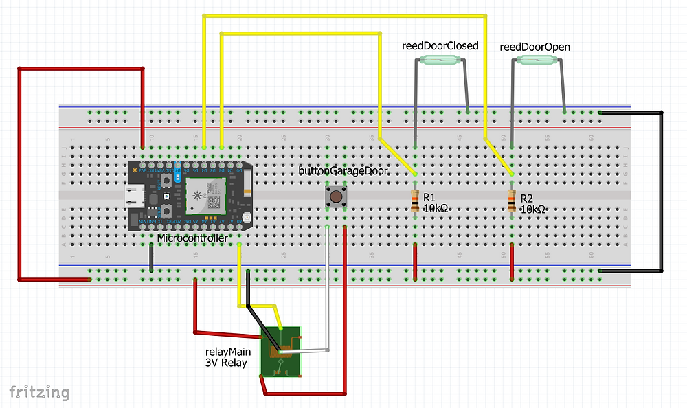 Breadboard layout of circuit in Fritzing - Note the addition of R1 and R2...