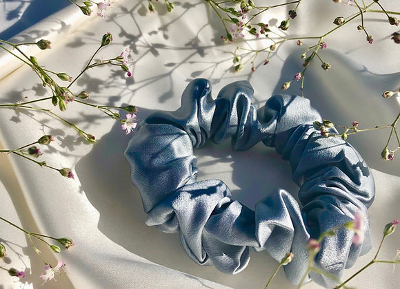 Deluxe Silk Scrunchie - Denim Blue