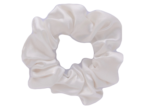 Deluxe Silk Scrunchie - White