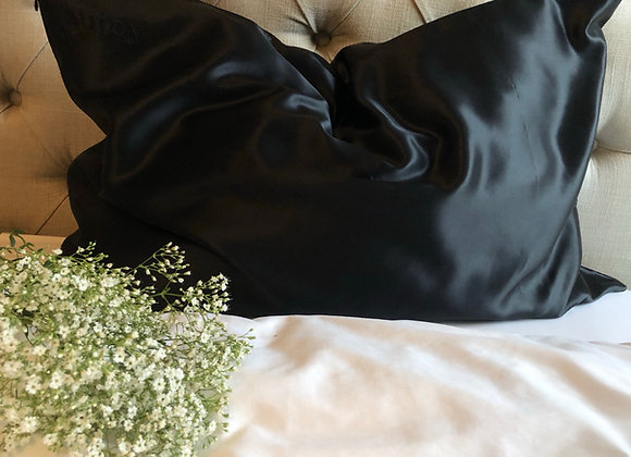 Obsidian Black Mulberry Silk Pillowcase