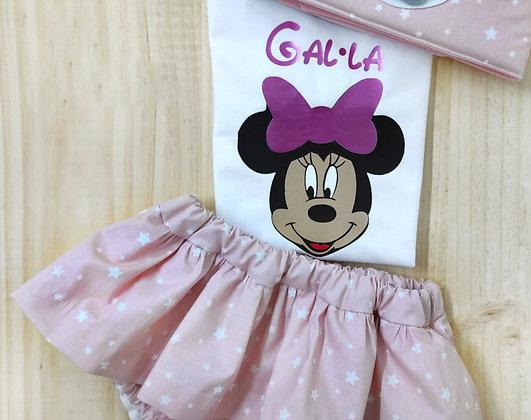 Conjunto culotte faldita y camiseta Minnie personalizada