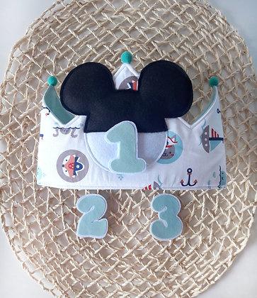Corona orejitas Mickey fondo marinero