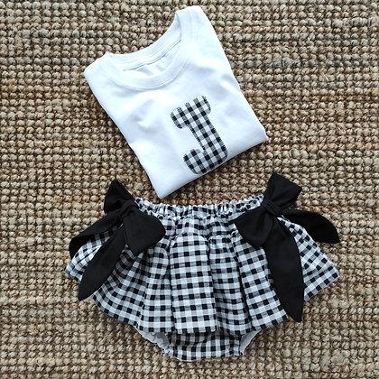Conjunto culotte faldita lazos y camiseta personalizada