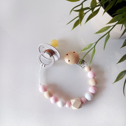 Sujetachupetes pink/soft grey