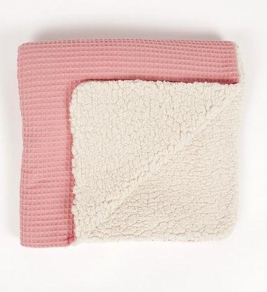 Manta calentita gofre rosa
