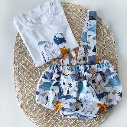 Conjunto culotte con tirantes y camiseta personalizada