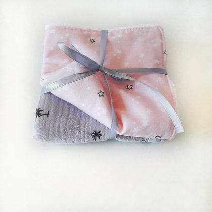 Toallitas multiusos rosa/ muselina palmeras