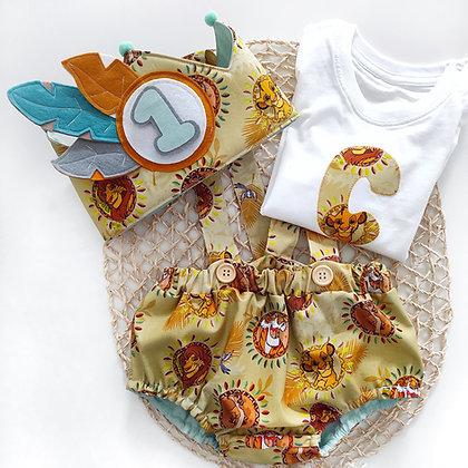 Conjunto cumpleaños culotte con tirantes, camiseta y corona