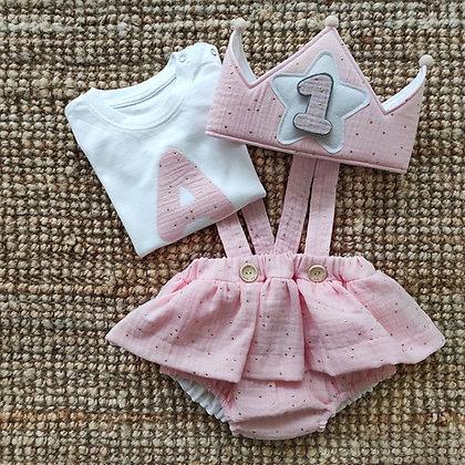 Culotte con tirantes tejido bambula rosa con corona