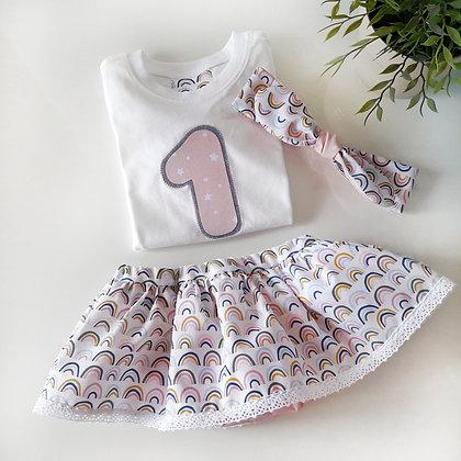 Conjunto cubrepañal faldita, camiseta y diadema