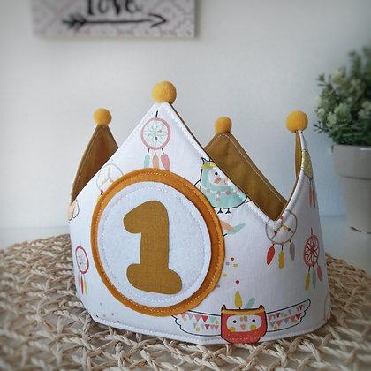 Corona cumpleaños buhos
