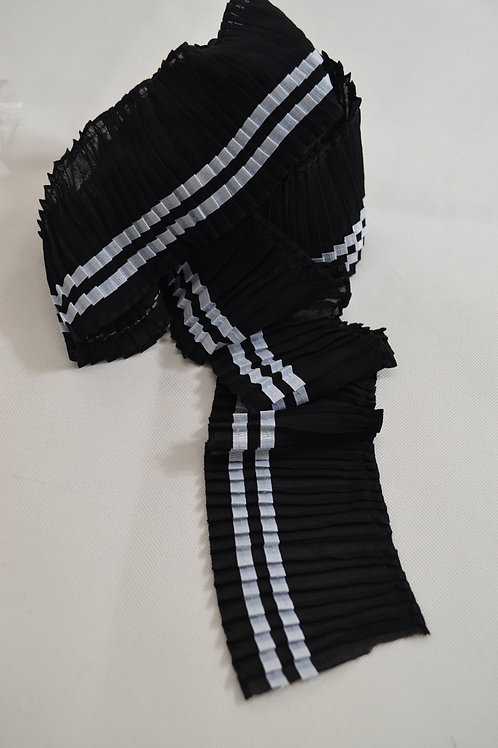 Black pleated With White trim
