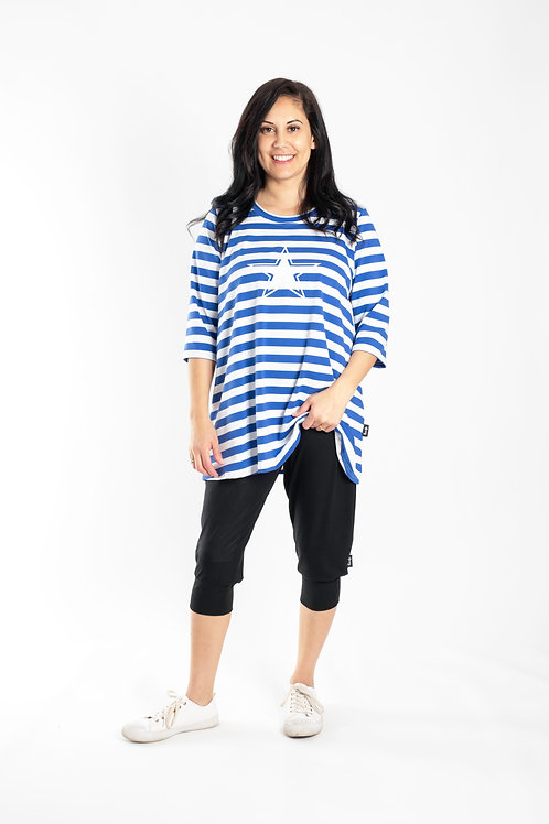 BLUE AND WHITE STRIPE TEE - JSS2006