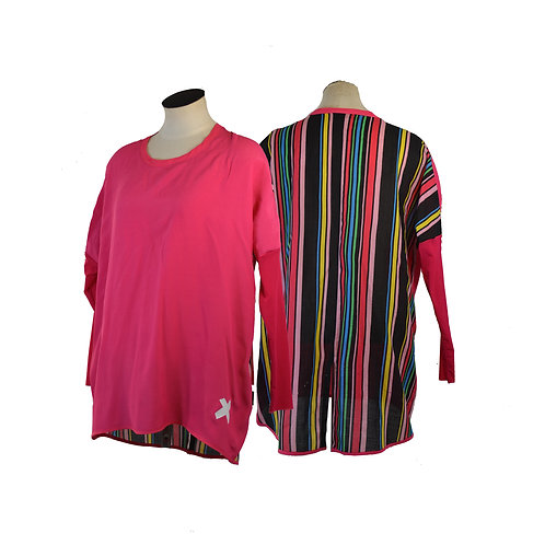 Bright pink and Stripe Relax fit Top- NZ MADE