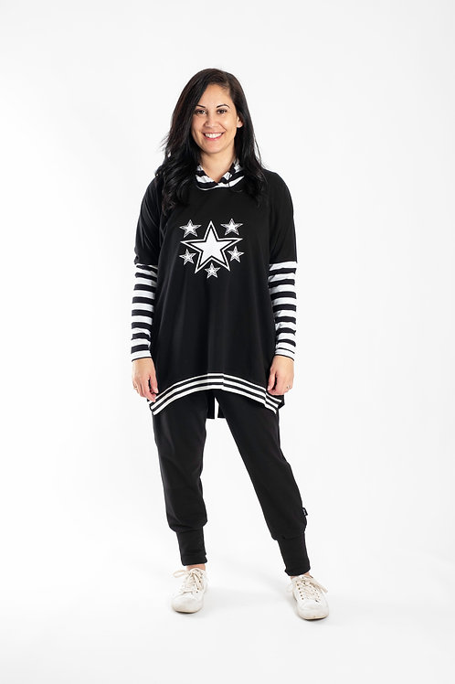 BLACK AND WHITE STAR HOODIE -JSS2029