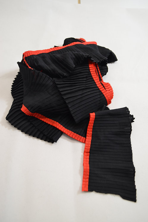 Black pleated Red trim