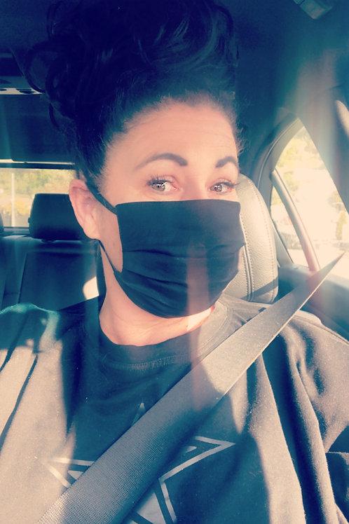 Face Mask - Adult - Black Linen/Cotton MADE NZ