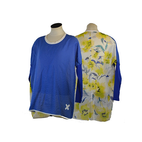 Bright Blue & yellow Top Relax fit Top- NZ MADE