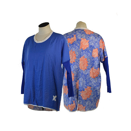 Bright Blue &  Orange Top Relax fit Top- NZ MADE