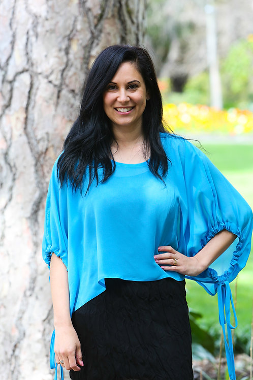 GST5 - BLUE - GATHERED SLEEVE OVER TOP